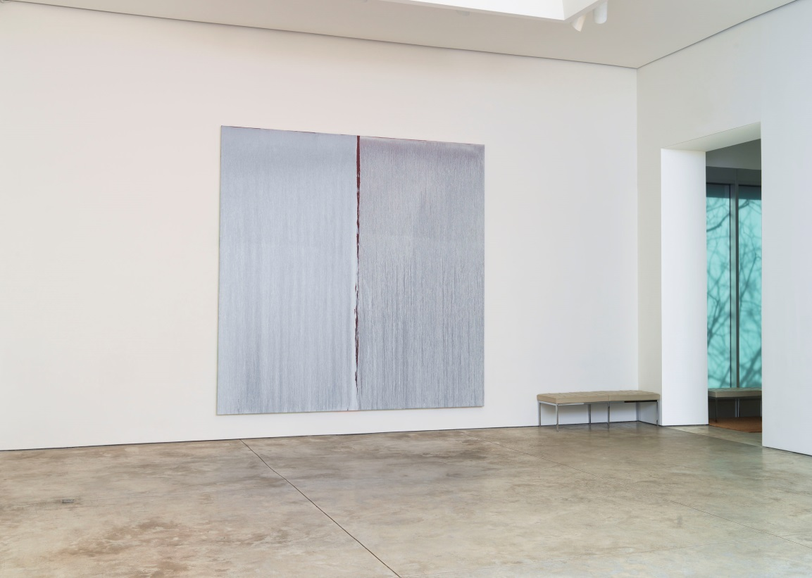 Installation view of Two Whites Over Antique Red Over Cadmium Red. Courtesy Cheim & Read, New York.