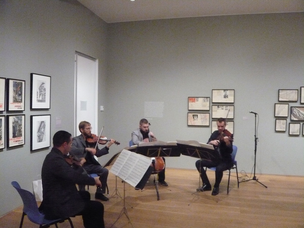 JACK Quartet performing at the Lebbeus Woods, Architect exhibition at The Drawing Center on May 8th, 2014.