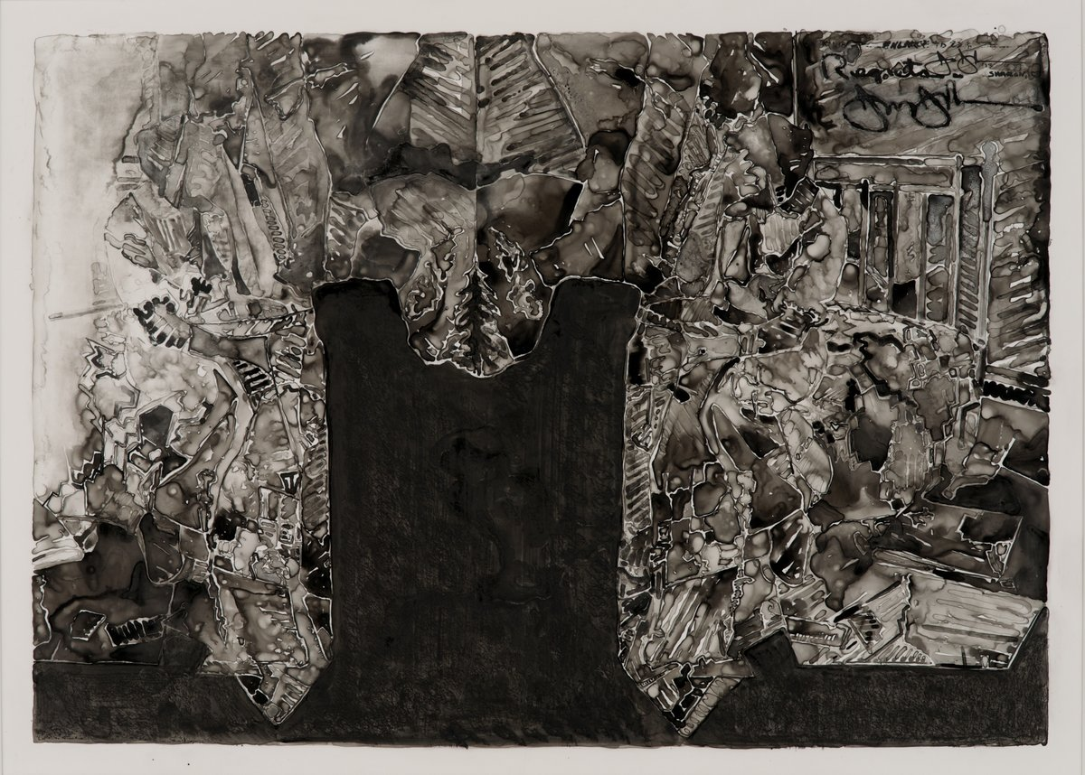 "Jasper Johns (American, born 1930). Untitled. 2013. Ink on plastic. 27 ½ x 36"" 69.9 x 91.4 cm). The Museum of Modern Art, New York. Promised gift from a private collection. Art © Jasper Johns/Licensed by VAGA, New York, NY. Photograph: Jerry Thompson."