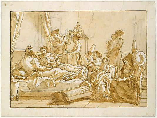 The Infant Punchinello in Bed with His Parents Giovanni Domenico Tiepolo Late 18th–early 19th century Pen and brown ink, two shades of brown wash, over black chalk 13 13/16 x 18 3/8 in. (35.1 x 46.7 cm) The Metropolitan Museum of Art, Robert Lehman Collection
