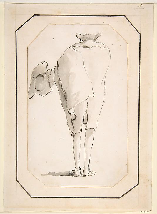 Caricature of a Man Holding a Tricorne, Seen from Behind Giovanni Battista Tiepolo 1760 (?) Pen and black ink, gray wash 7 3/4 x 4 13/16 in. (19.7 x 12.2 cm) The Metropolitan Museum of Art, Robert Lehman Collection