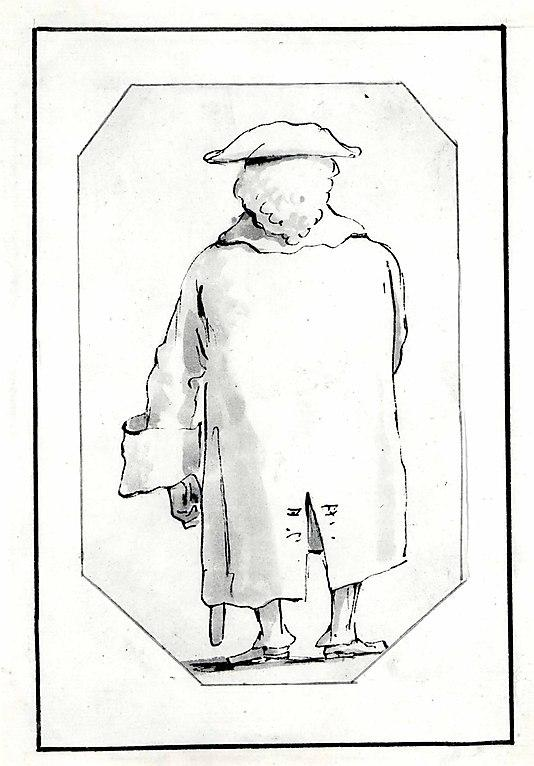 Caricature of a Man Wearing a Wig and a Tricorne, Seen from Behind Giovanni Battista Tiepolo  1760 (?) Pen and black ink, gray wash 7 5/16 x 4 1/2 in. (18.5 x 11.5 cm) The Metropolitan Museum of Art, Robert Lehman Collection