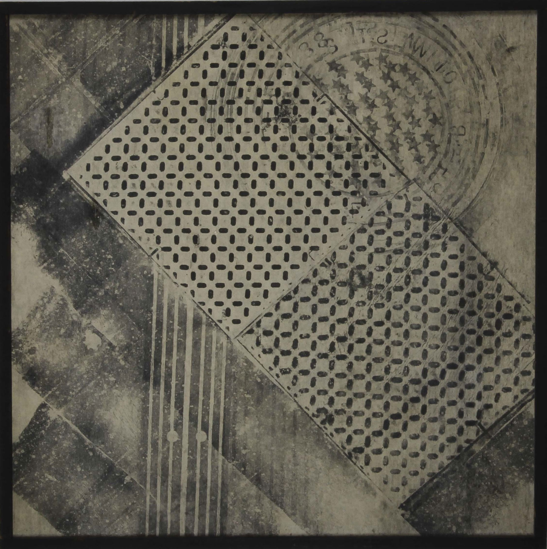Sari Dienes, Tred Squares, c. 1953–55, Ink on webril, 36 x 36 inches. Courtesy of The Sari Dienes Foundation, Pomona, NY. © Sari Dienes  Foundation/ Licensed by VAGA, New York, NY.