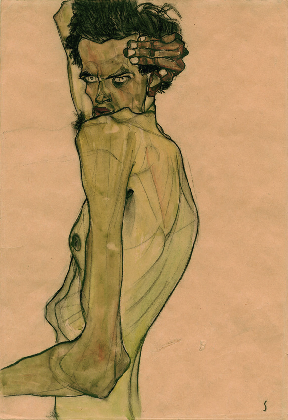 Egon Schiele, Self-portrait with arm twisted above head, 1910. Watercolor and charcoal. Private Collection. Image courtesy of Neue Galerie.