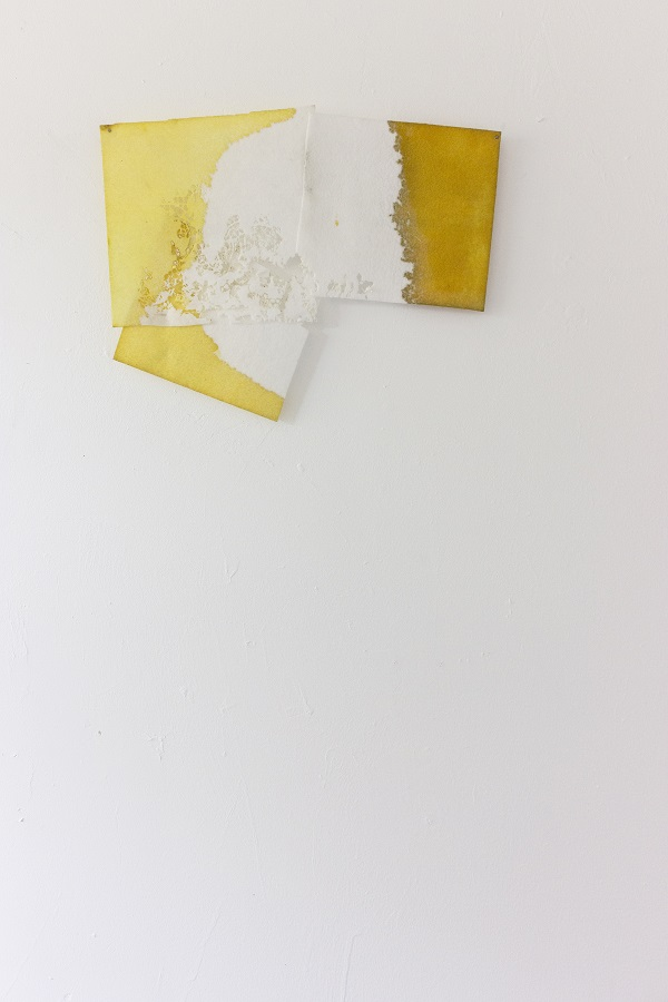 Diana Puglisi, Moth-eaten, 2014. Fabric dye and house paint on interfacing, 16 x 13 inches. Courtesy of the artist.