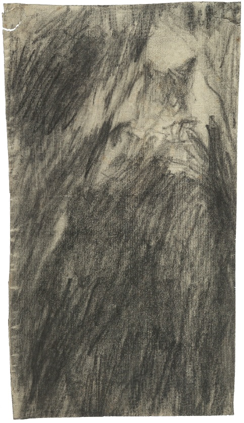 Medardo Rosso, Cheval qui monte la route (Horse going up the street), n.d. Pencil on paper, mounted on cardboard,  7 7/8 x 4 ½ in (20 x 11.5 cm).  Museo Medardo Rosso, Barzio. Image courtesy of the Center for Modern Italian Art.