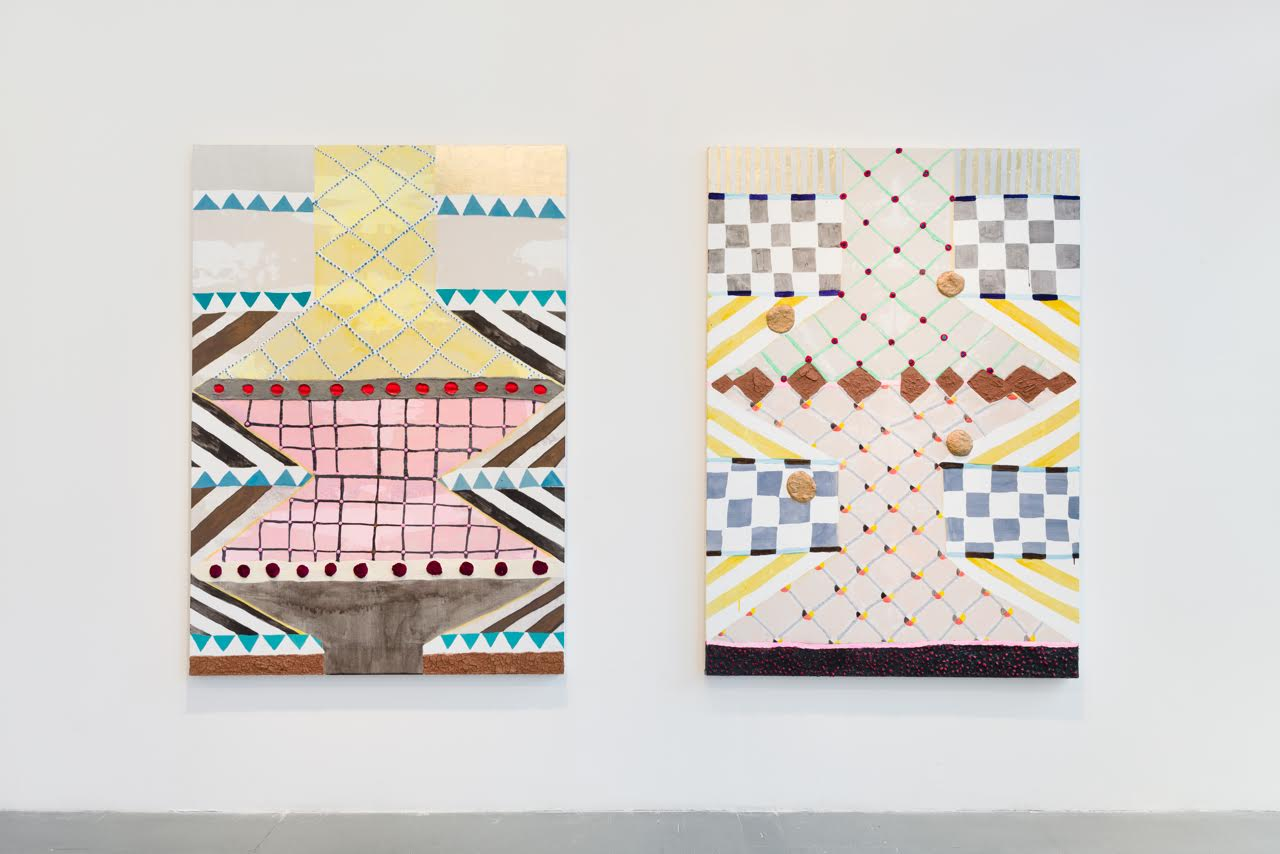 Left: Laurel Sparks, Oneida, 2015. Acrylic, paper mâché, dirt, salt, selenite, pom poms, rocks, glitter, gold leaf, graphite, and watercolor pencil on canvas, 66 x 48 inches. Courtesy of Brennan & Griffin. Photo courtesy of Charles Benton. Right: Laurel Sparks, Rhinestone Voodoo (right), 2015. Acrylic, paper mâché, dirt, rocks, glitter, rhinestones, marker, gold leaf on canvas, 66 x 48 inches. Courtesy of Brennan & Griffin. Photo courtesy of Charles Benton.