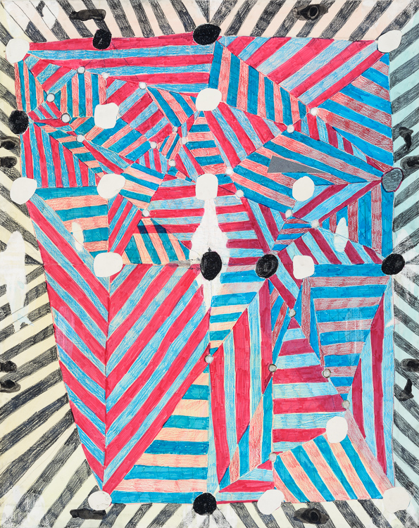 Laurel Sparks, Dazzle Drawing 3, 2013. Graphite, marker, colored pencil, ink, cutouts, collage, and glitter on paper, 28.5 x 23 inches. Courtesy of the artist.