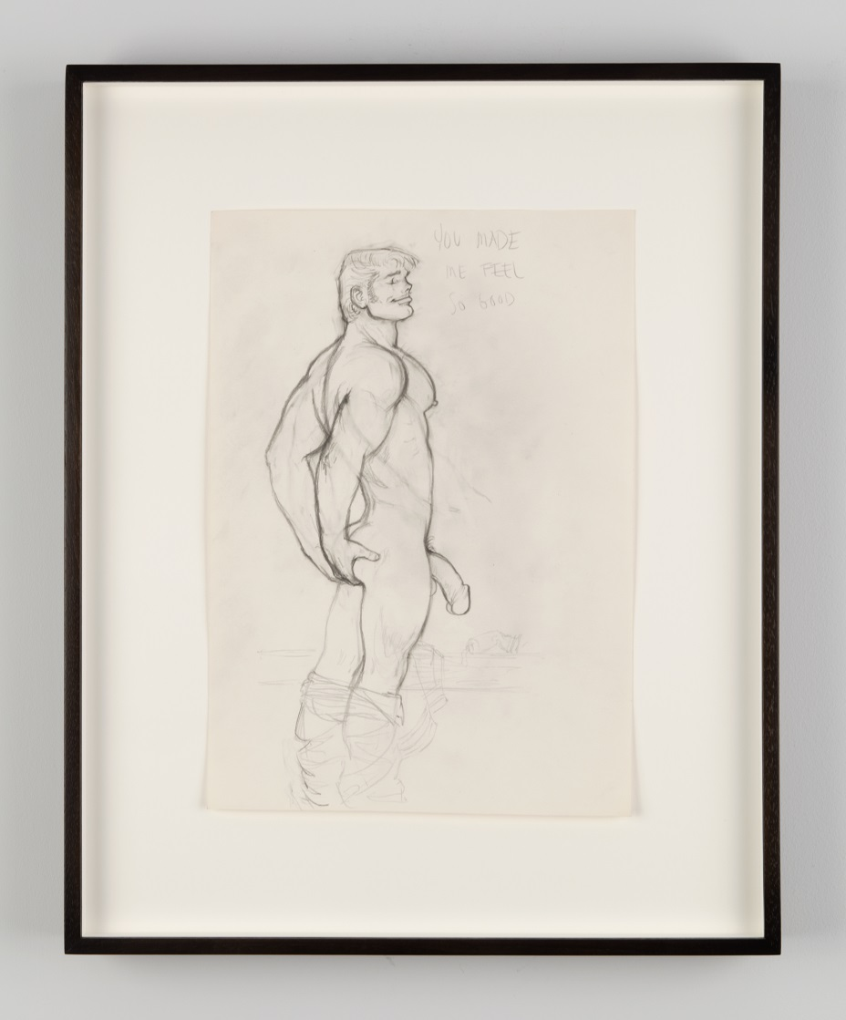 Tom of Finland, Untitled, 1972. Graphite on paper. Tom of Finland Foundation, Permanent Collection. Published in Jack in the Jungle 3, D.F.T., Denmark. Photo courtesy of Jean Vong.