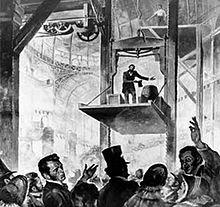 Elisha Otis demonstrating his safety system, Crystal Palace, New York, 1853.
