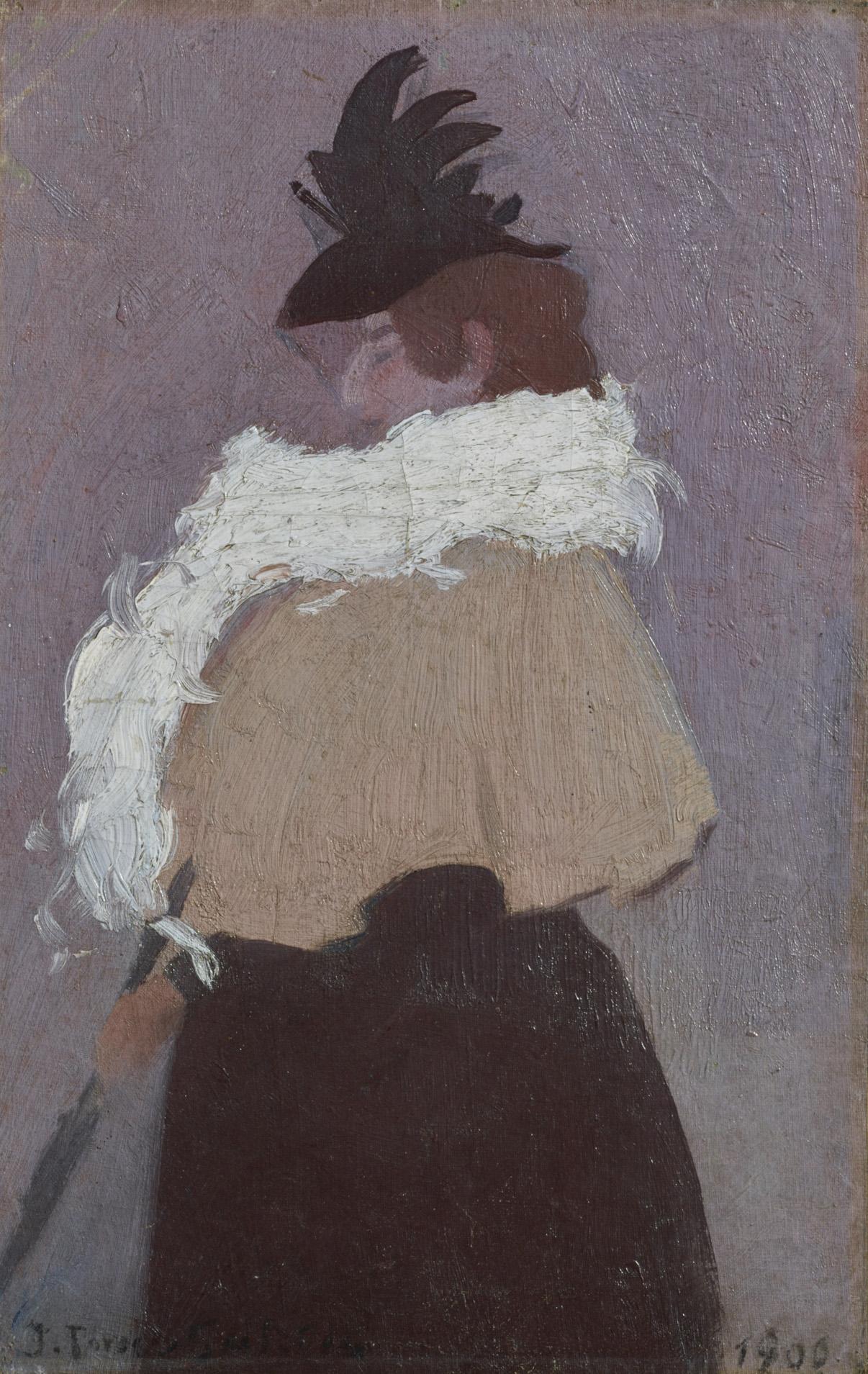 Joaquín Torres-García (Uruguayan. 1874–1949). Figura de mujer (Figure of a woman). 1900. Oil on board, 18 1/2 x 11 13/16″ (47 x 30 cm). Private collection. Switzerland. © Sucesión Joaquín Torres-García, Montevideo 2015. Photo credit: Peter Schälchli, Zurich.