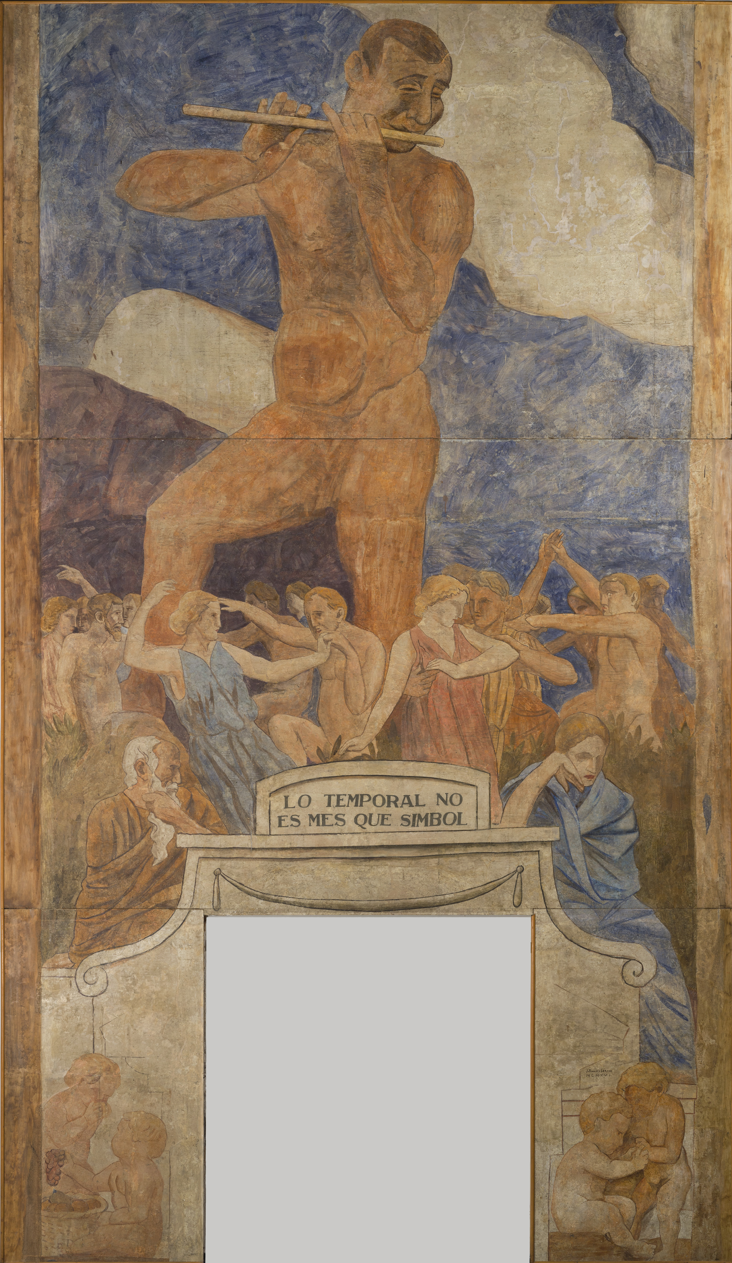 Joaquín Torres-García (Uruguayan. 1874–1949). Lo temporal no és més que símbol (The temporal is no more than symbol). 1916. Fresco transferred to canvas mounted on strainer, 226 3/8 × 130 5/16″ (575 × 331 cm). Generalitat de Catalunya Fons d'Art. © Sucesión Joaquín Torres-García, Montevideo 2015. Photo credit: Ramon Maroto. Centre de Restauració de Béns Mobles de Catalunya, CRBMC. Generalitat de Catalunya.