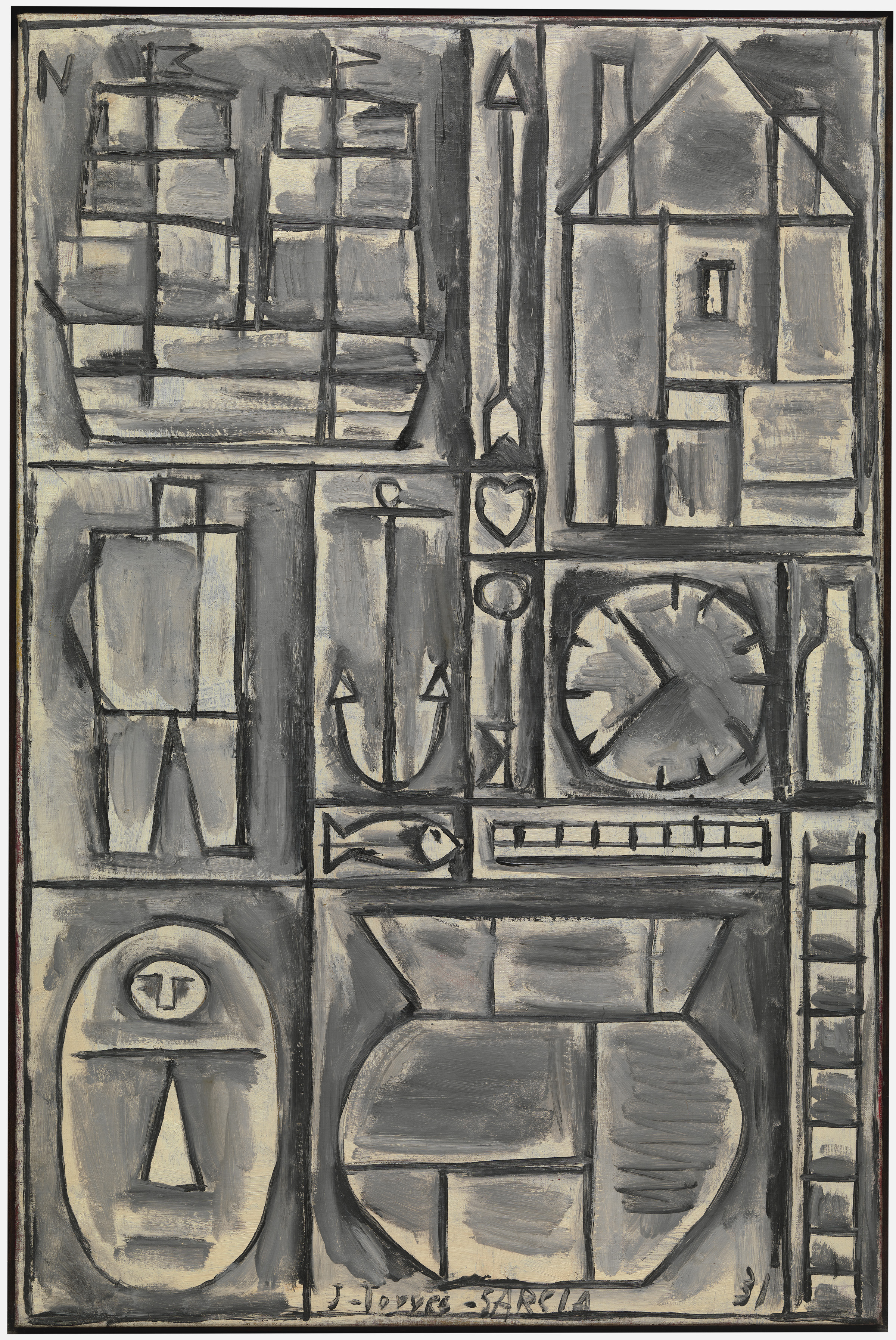 Joaquín Torres García (Uruguayan, 1874–1949). Composition. 1931. Oil on canvas. 36 1/8 x 24″ (91.7 x 61 cm). The Museum of Modern Art, New York. Gift of Larry Aldrich, 1956. © Sucesión Joaquín Torres-García, Montevideo 2015. Photo Thomas Griesel.