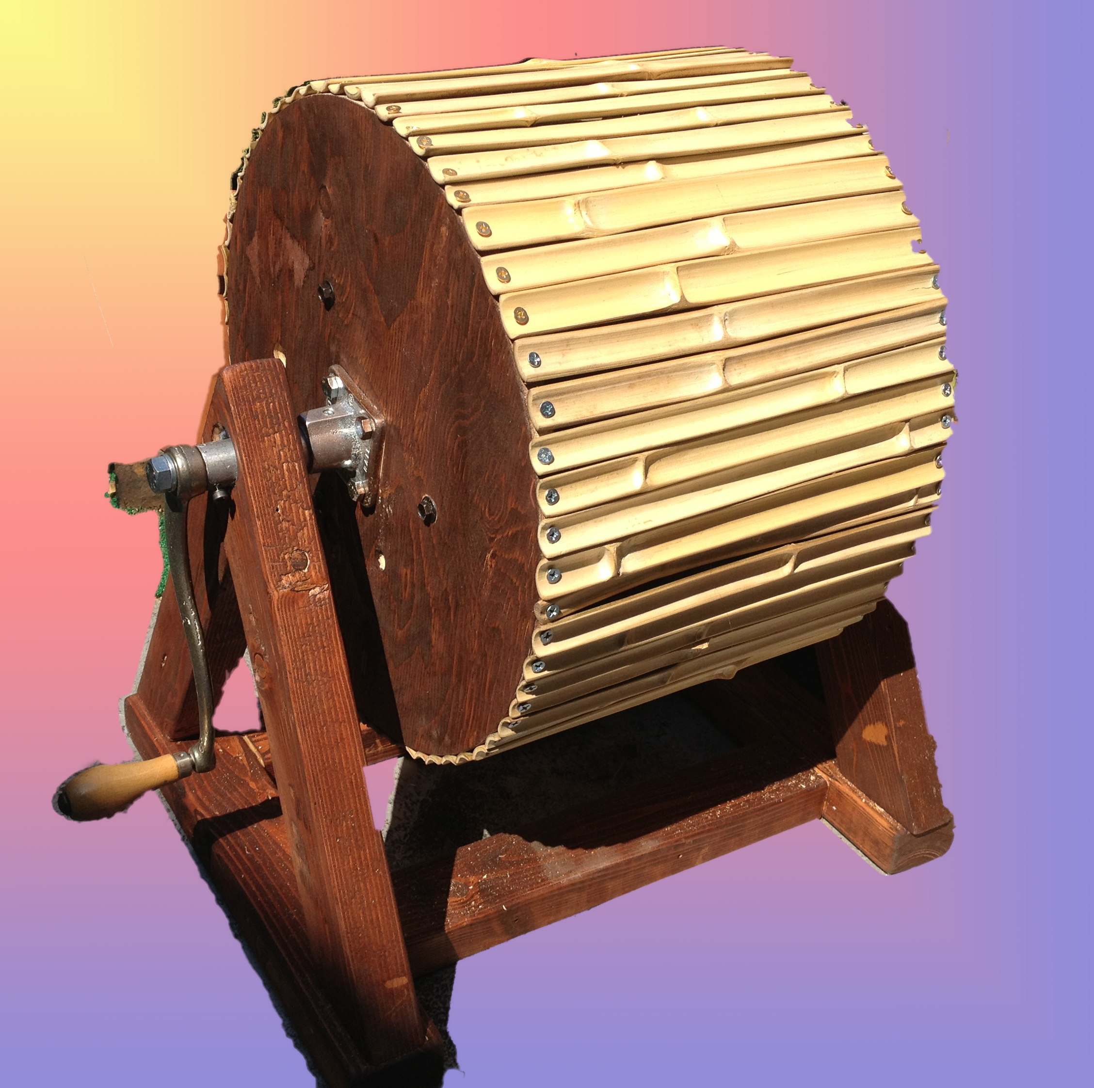 The Bambingo is a hand-cranked instrument made out of bamboo. It is designed with the idea that it is a sound loop