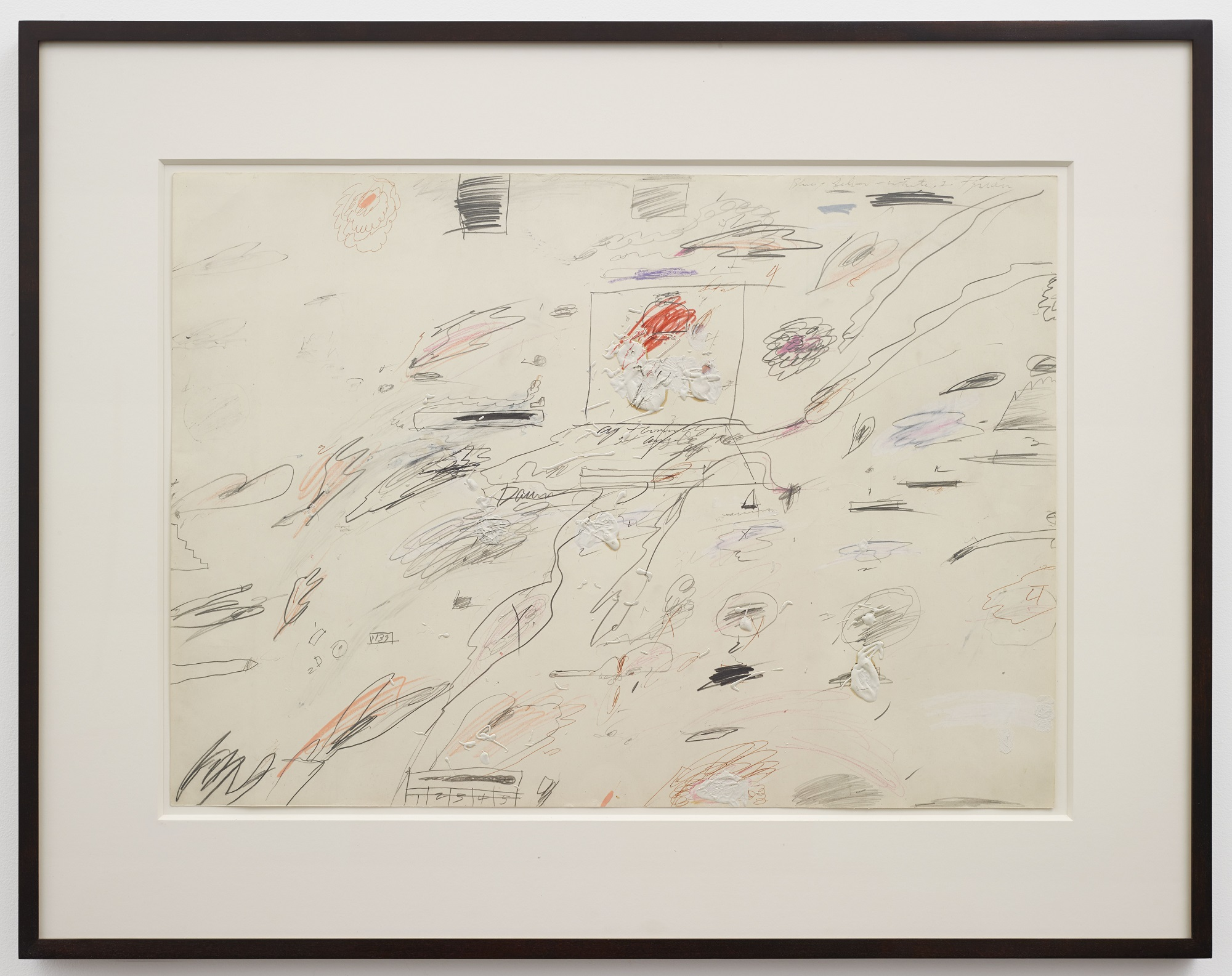 Cy Twombly Untitled, 1960. Pencil, oil-based house paint, wax crayon, and ballpoint pen on paper. 19 5/8 x 27 1/2 inches (50 x 70cm) © 2015 Cy Twombly Foundation