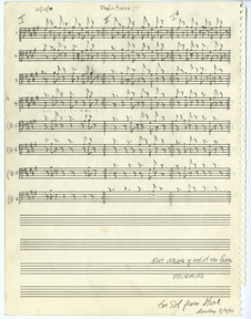 Steve Reich, First version of reductions from Drumming, 1970. Graphite on staff paper, 12 x 9 1/4 inches. © Copyright 1971 by Hendon Music, Inc. Revised, © Copyright 2011 by Hendon Music, A Boosey & Hawkes Company. International Copyright Secured. All Rights Reserved. Shown by Permission for the Exclusive use of The Drawing Center, 2016.