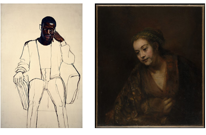 """LEFT: Alice Neel, """"James Hunter Black Draftee,"""" 1965. Oil on canvas, 60 x 40 inches. Collection of the COMMA Foundation, Belgium © The Estate of Alice Neel, Courtesy David Zwirner, New York/London. RIGHT: Rembrandt (Rembrandt van Rijn), """"Hendrickje Stoffels (1626–1663),"""" mid-1650s. Oil on canvas, 30 7/8 x 27 1/8 inches. Collection of The Met; gift of Archer M. Huntington, in memory of his father, Collis Potter Huntington, 1926."""