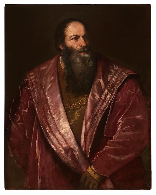 "Titian (Tiziano Vecellio), ""Portrait of Pietro Aretino,"" 1545. Oil on canvas, 38 1/16 × 30 9/16 inches. Collection of Palazzo Pitti, Galleria Palatina, Florence. Scala / Art Resource, NY."