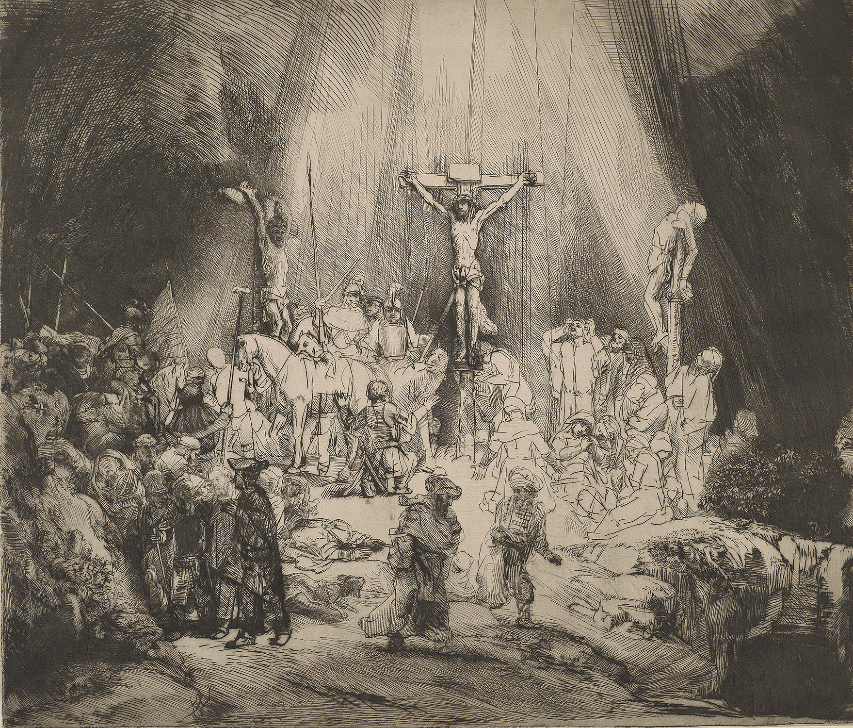 "Rembrandt van Rijn (1606-1669), Christ Crucified Between the Two Thieves: ""The Three Crosses,"" 1653, Drypoint, state I (of V). The Morgan Library & Museum. Photography by Graham S. Haber."