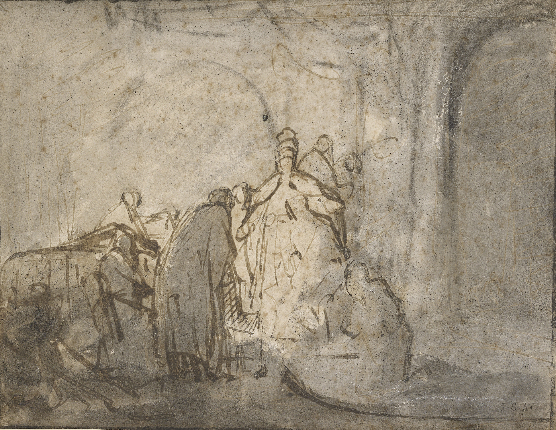 Rembrandt van Rijn (1606-1669), Judas Returning the Thirty Pieces of Silver (recto), ca. 1629, Pen and brown ink and gray wash over black chalk. Private collection.
