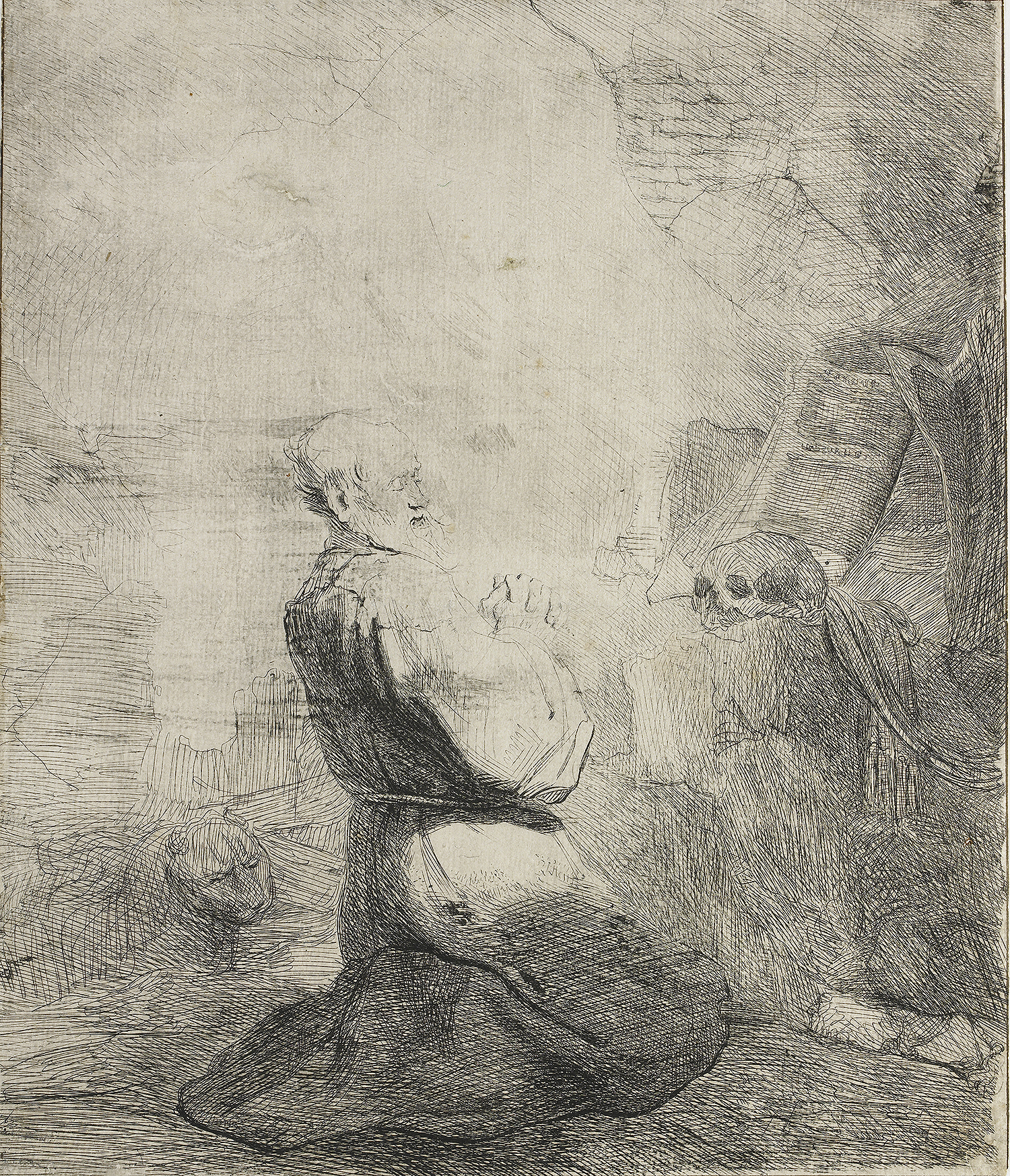 Rembrandt van Rijn (1606-1669), St. Jerome Kneeling: Large Plate, ca. 1628, Etching, retouched in pen and dark gray ink, only state. Rijksmuseum, Amsterdam.