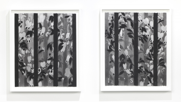"Dana Lok, ""Blind Butterflies,"" 2015. Charcoal on paper, diptych, each 23 x 19 inches. Courtesy of the artist."