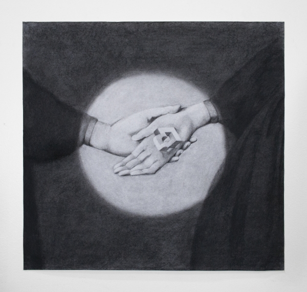 "Dana Lok, ""The Actress makes a promise,"" 2015. Charcoal on paper, 24 x 25 inches. Courtesy of the artist."
