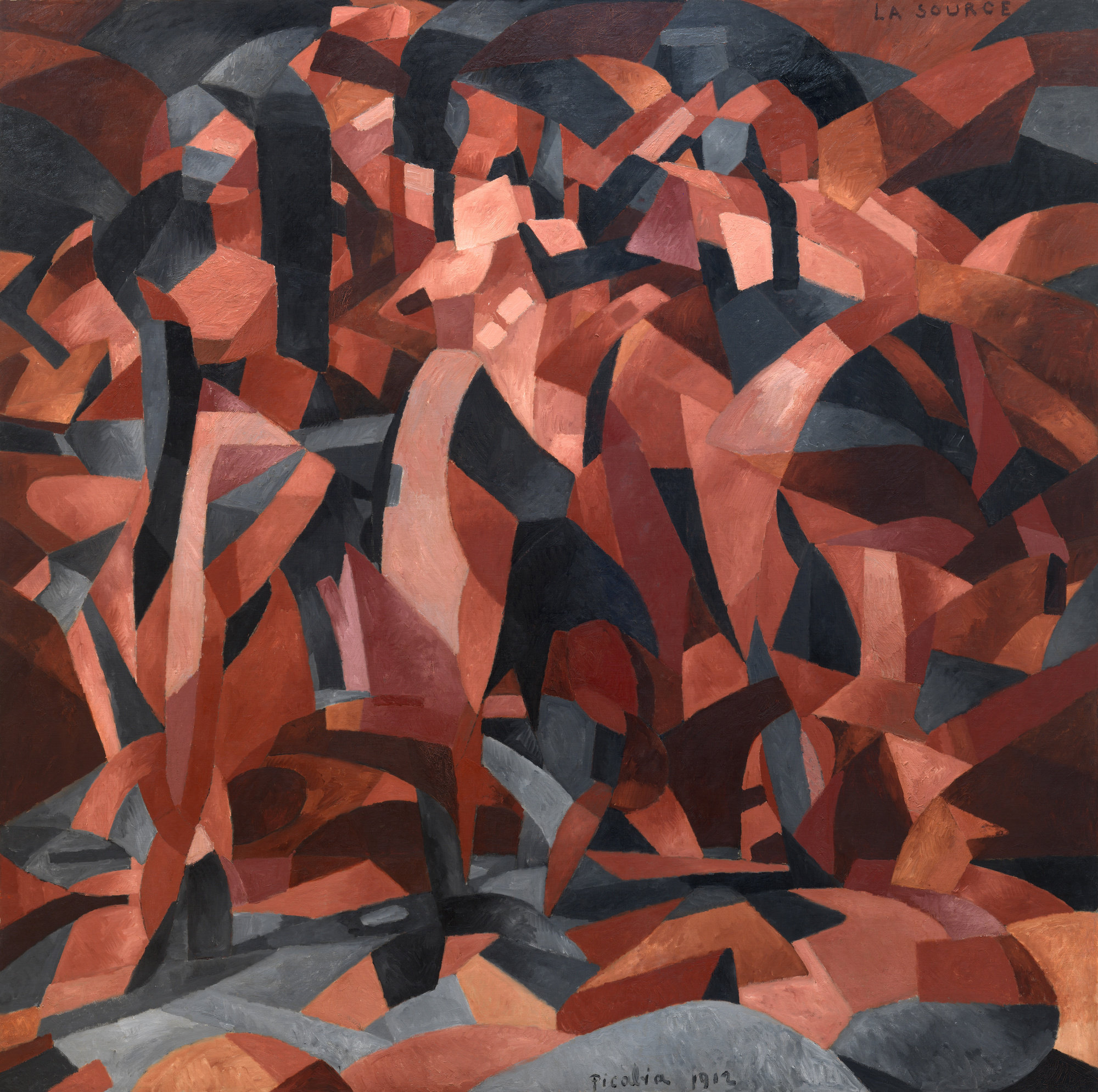 Francis Picabia. La Source (The Spring). 1912. Oil on canvas, 8′ 2 1/4″ × 8′ 2 1/8″ (249.6 × 249.3 cm). The Museum of Modern Art, New York. Eugene and Agnes E. Meyer Collection, given by their family, 1974. © 2016 Artist Rights Society (ARS), New York/ADAGP, Paris. Photo: The Museum of Modern Art, John Wronn and Jonathan Muzikar
