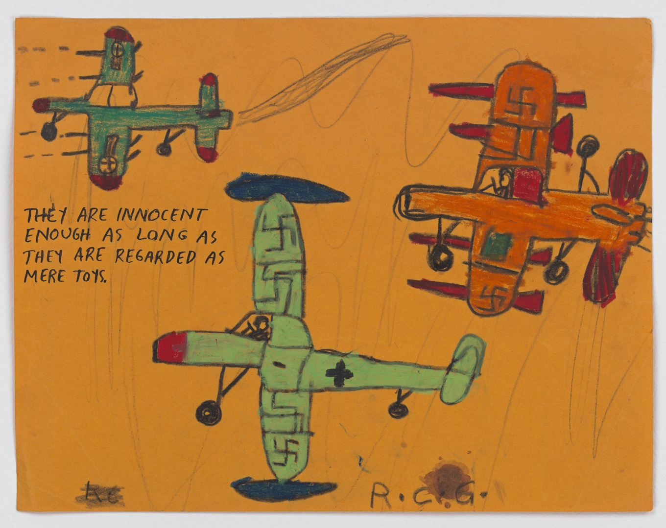 No Title (They are innocent...), ca.1960s/2000s. Crayon and pencil on paper, 8 1/2 x 11in (21.6 x 27.9cm). Courtesy David Zwirner, New York