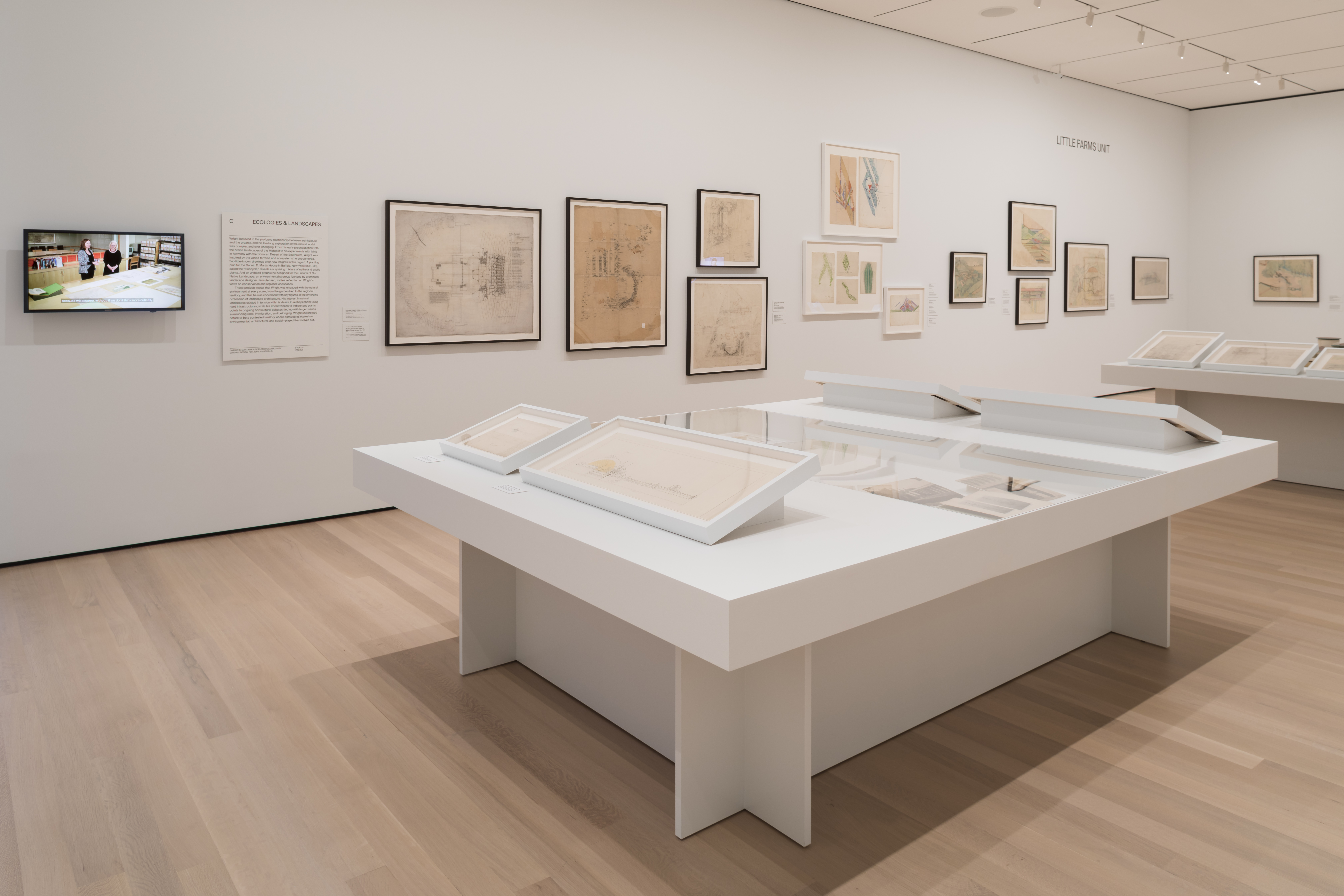 Installation view of Frank Lloyd Wright at 150: Unpacking the Archive. The Museum of Modern Art, New York, June 12–October 01, 2017. © 2017 The Museum of Modern Art. Photo: Jonathan Muzikar