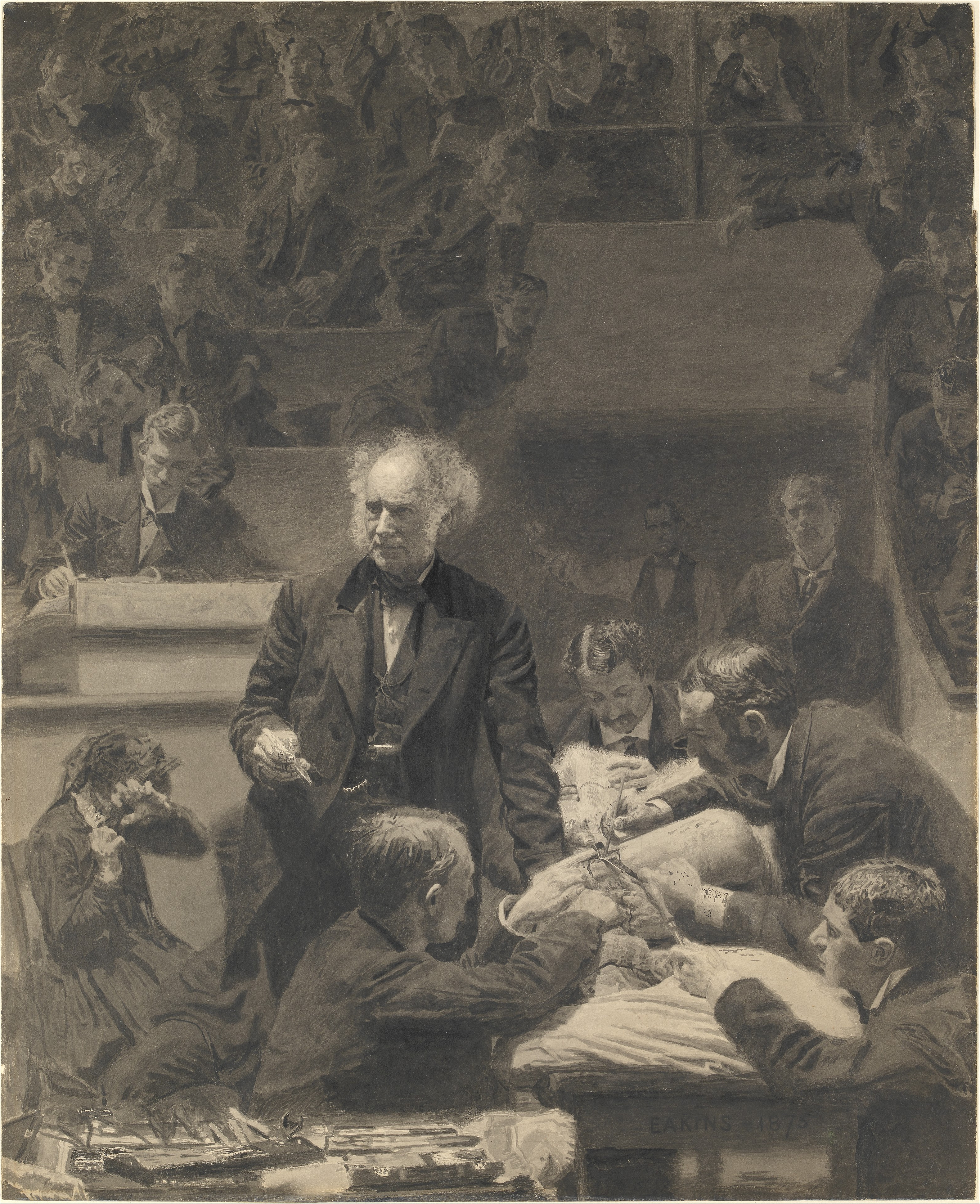 Thomas Eakins, Gross Clinic, 1875–76. India ink and watercolor on cardboard, 23 3/4 x 19 1/4 inches. Collection of the Metropolitan Museum of Art, New York; Rogers Fund, 1923.