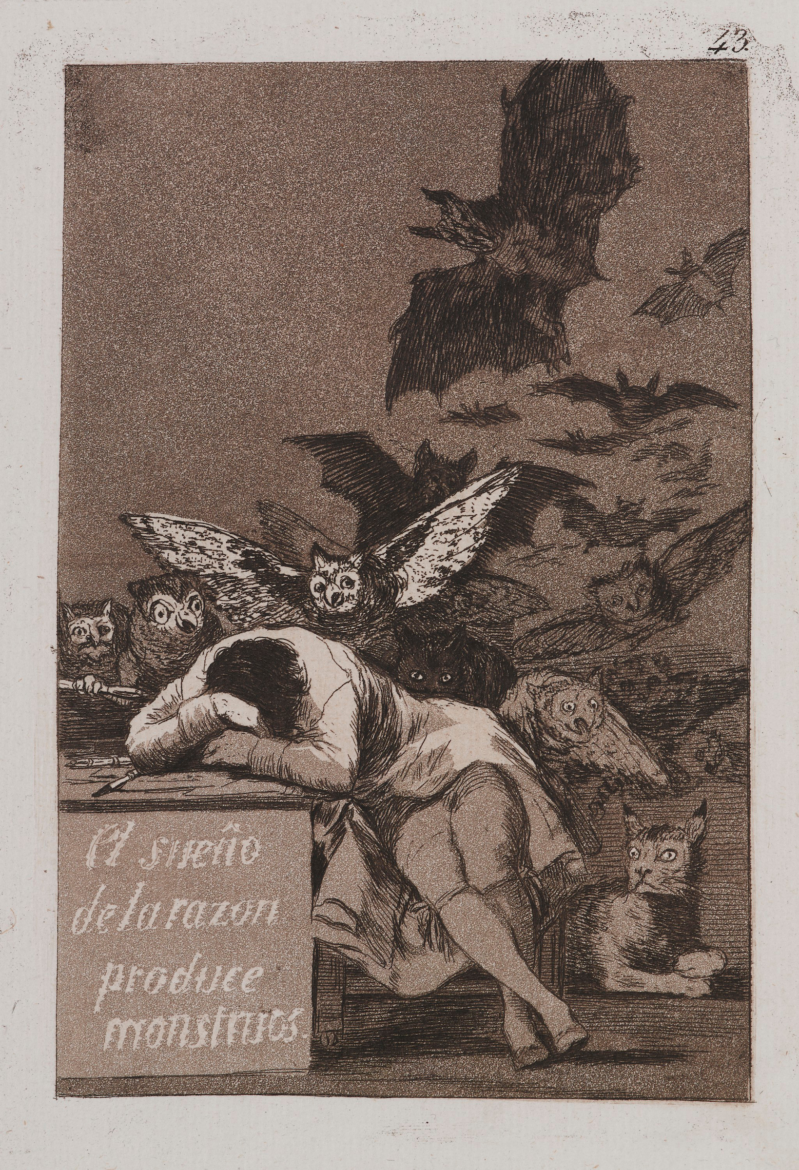 Francisco de Goya y Lucientes (Spanish, 1746—1828). The Sleep of Reason Produces Monsters (El sueño de la razón produce monstruos), plate 43 from The Caprices (Los Caprichos), 1797—98. Etching and aquatint on laid paper, 7 ¼ x 4 ¾ in. (18.4 x 12.2cm). Brooklyn Museum; A. Augustus Healy Fund, Frank L. Babbott Fund, and Carll H. de Silver Fund, 37.33.43. (Photo: Jonathan Dorado, Brooklyn Museum)