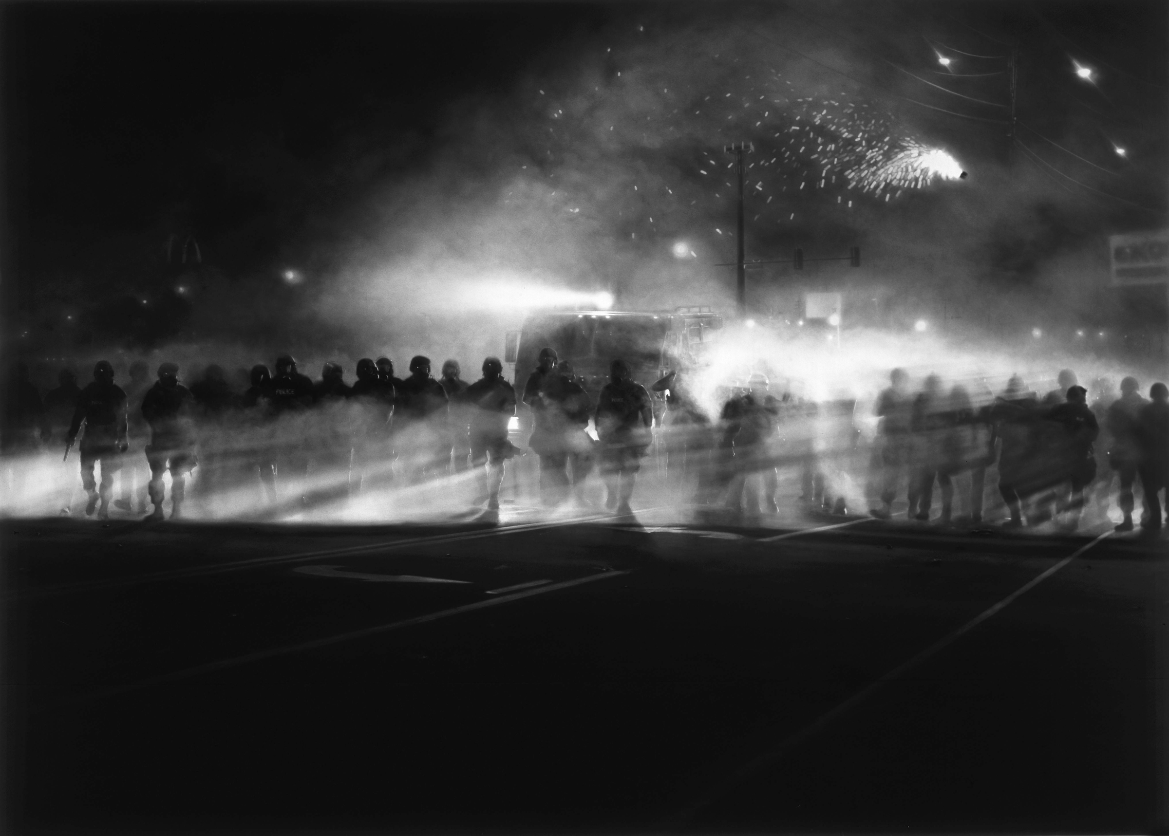 Robert Longo (American, born 1953). Untitled (Ferguson Police, August 13, 2014), 2014. Charcoal on mounted paper, 86 x 120 in. (218.4 x 304.8 cm). © Robert Longo, The Broad Art Foundation. (Photo: Courtesy of the artist and Petzel, New York)  The image may not be cropped or altered in any way, nor superimposed with any printing. Full credit must be given for the image.