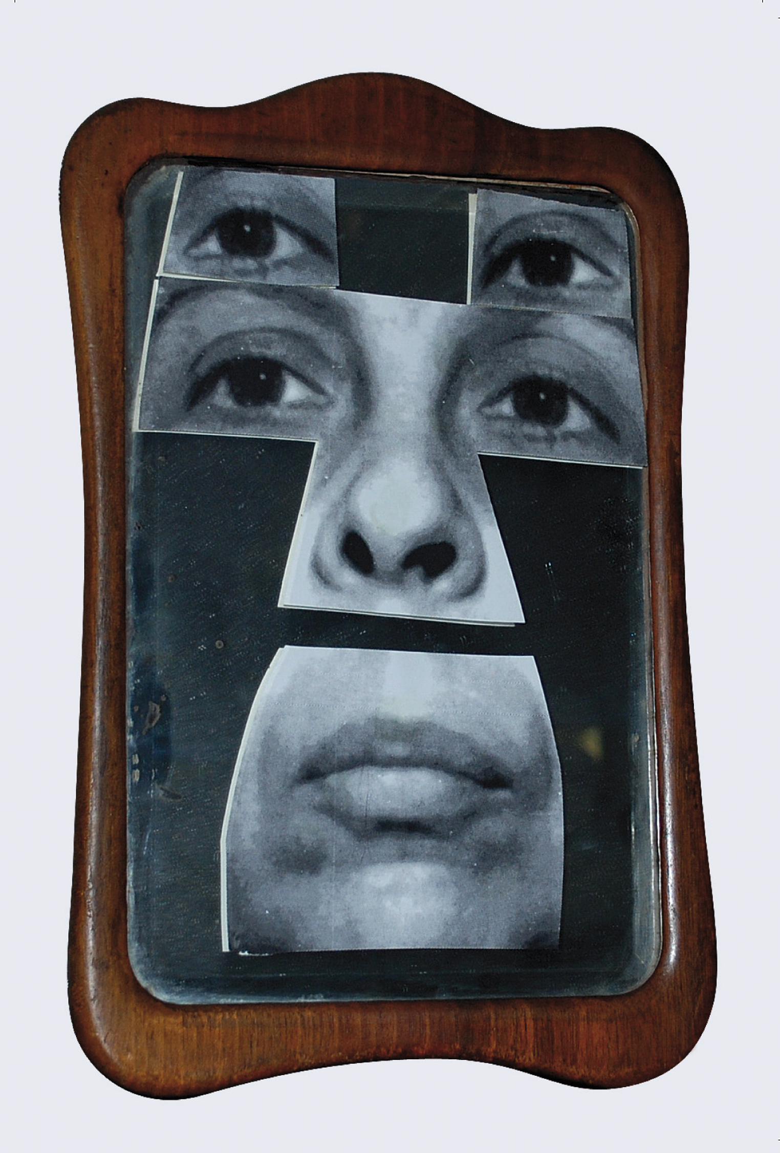 "Geta Brătescu, Autoportret în oglindă [Self-Portrait in the Mirror], 2001. Mirror, wood, gelatin silver prints, 8 1/4 x 5 7/8"" (21  x  15  cm). © Geta  Brătescu, Courtesy the  artist; Ivan  Gallery, Bucharest; Hauser & Wirth. Photo: Ștefan  Sava."