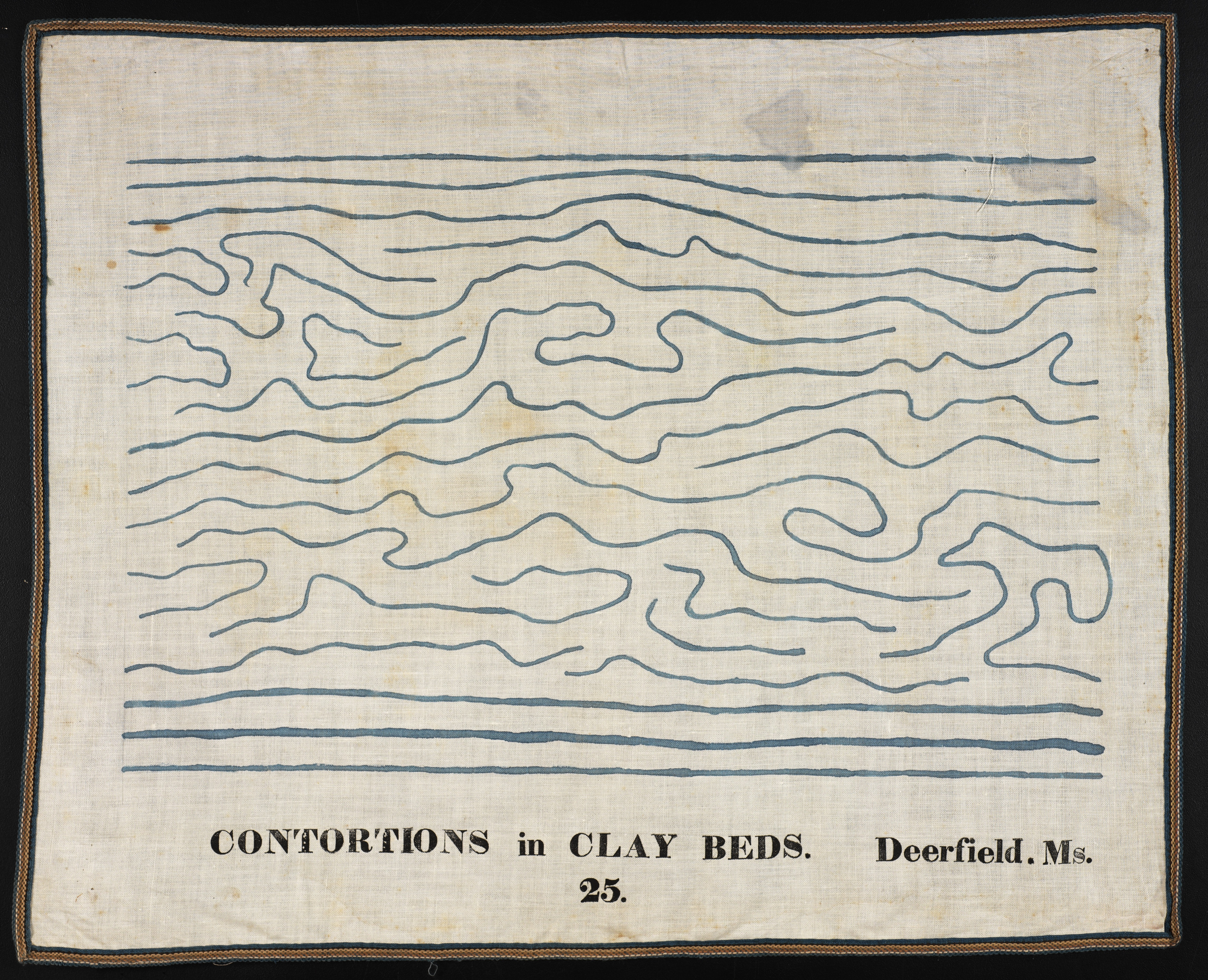 """25. Contortions in Clay Beds. Deerfield. Ms. Orra White Hitchcock (1796–1863) Amherst, Massachusetts 1828–1840 Pen and ink and watercolor on cotton, with woven tape binding 19 1/8 x 23 1/8"""" Amherst College Archives & Special Collections"""